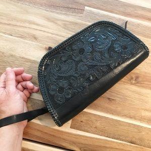 Vintage Clutch Wristlet Hand Tooled Leather Black